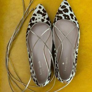 Kate Spade leopard calf hair flats